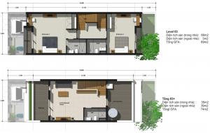 Phối cảnh tầng 3 và 3,5 – Liền Kề Green Bay Village