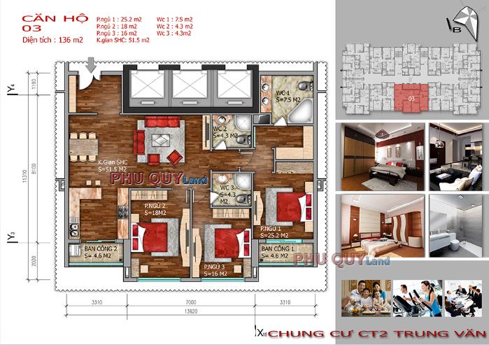 Thiết kế căn hộ 136 m2 chung cư Trung Văn – Vinaconex 3.