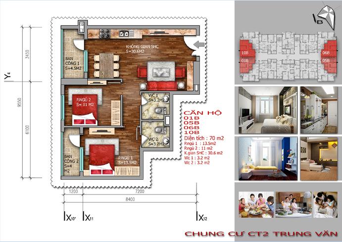 Thiết kế căn hộ 70m2 chung cư Trung Văn – Vinaconex 3.