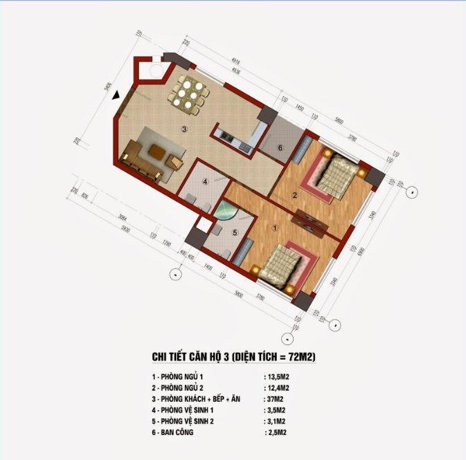 Thiết kế căn hộ 72m2 chung cư CT1 Trung Văn ( Căn số 03, 06, 09, 12, 16, 19 )
