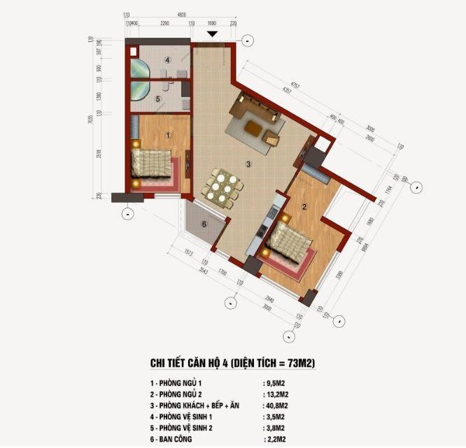 Thiết kế căn hộ 73m2 chung cư CT1 Trung Văn (Căn số 04, 05, 10, 11, 16,19)
