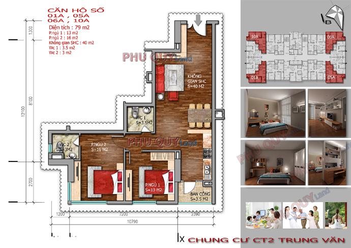 Thiết kế căn hộ 79m2 chung cư Trung Văn – Vinaconex 3.