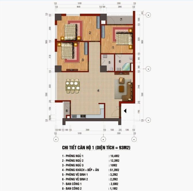 Thiết kế căn hộ 93m2 chung cư CT1 Trung Văn ( Căn số 01, 02, 07, 08, 14, 15)