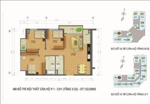 Mặt bằng căn hộ số 1 chung cư Packexim 2 Tây Hồ
