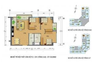 Mặt bằng căn hộ số 3 chung cư Packexim 2 Tây Hồ