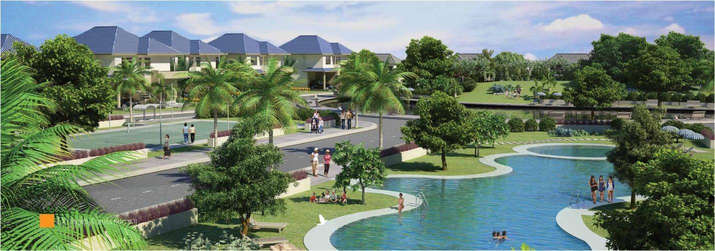 bể bơi của dự án xanh villas
