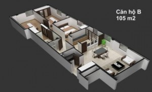MẶT CẮT CĂN HỘ BELLEZA 105 m2